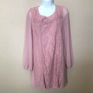 Flying tomato pink lace long sleeved dress Large